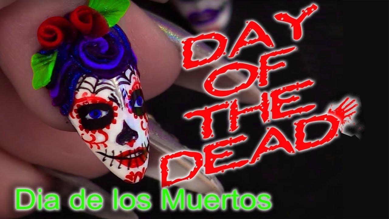 Day of the Dead - Sugar Skulls Nail Art Tutorial - YouTube