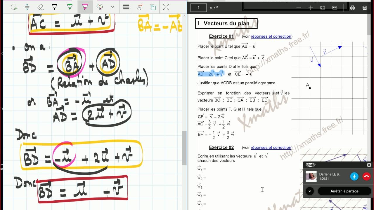 Vecteurs - 1 S - exercices corrigés. - YouTube