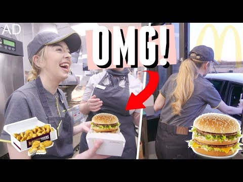 I CANT BELIEVE I GOT TO DO THIS! WORKING AT MCDONALD'S! MAKING A BIG MAC & WORKING A DRIVE THRU! AD