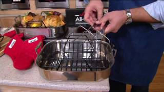 All-Clad Stainless Steel Large Roaster w/ Rack, Forks & Oven Mitts on QVC