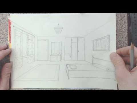 Как нарисовать гостиную карандашом поэтапно