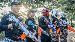 LTT Nerf Mod : Warriors Black Nerf Guns Fight Crime Dangerous Mask Dr.Lee Illegal Intruder