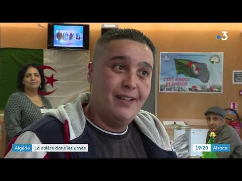 Vote des algériens au consulat de Strasbourg le 12 décembre 2019, certains appellent au boycott.