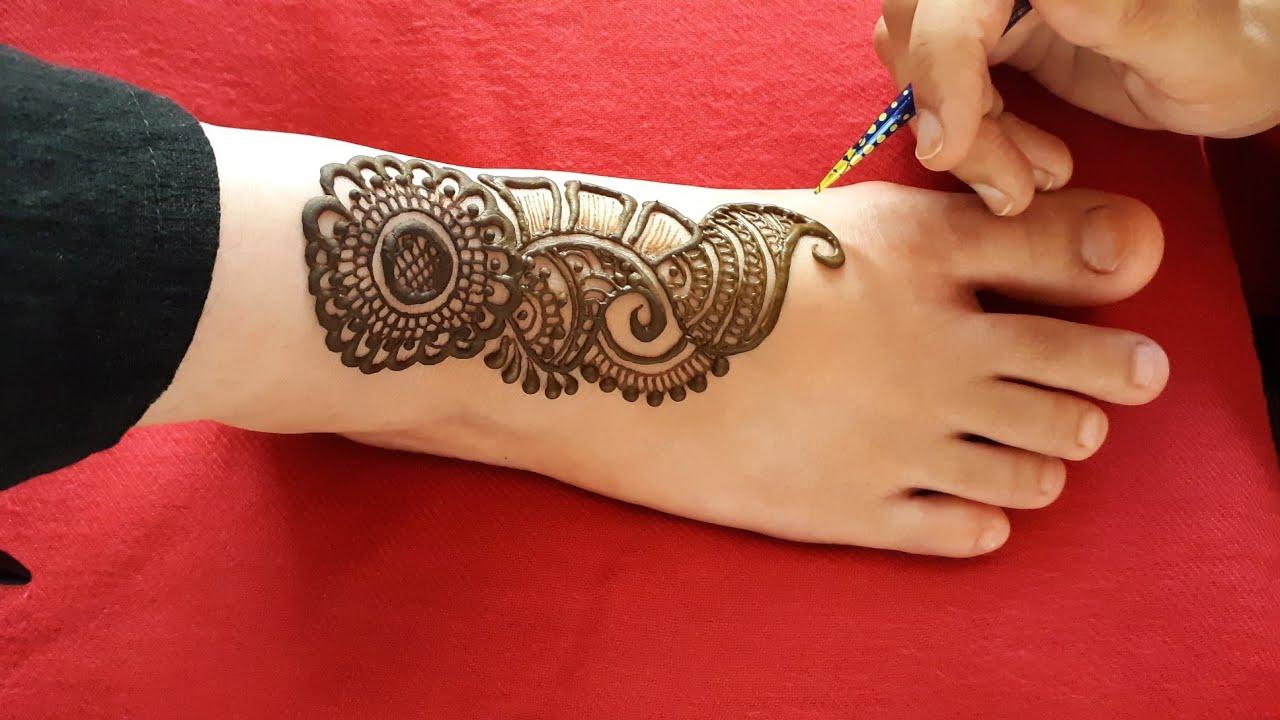Latest Arabic Mehndi Designs For Leg Beautiful Henna Mehndi Design For Foot Eid Mehndi Design 2 Youtube
