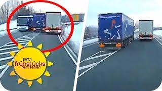 Lebensgefährlich überholt: LKW-Raser wegen versuchten Mordes angeklagt   SAT.1 Frühstücksfernsehen