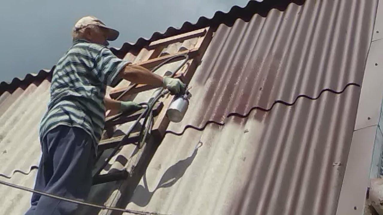 Покраска шифера ручным пневмораспылителем/ Painting slate manual pneumatic sprayer