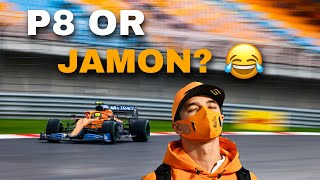 Norris HAVING BANTER with his team: Jamon or P8 for your birthday?!"