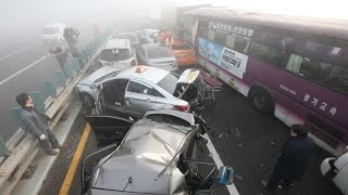 100 car pile-up in South Korea on foggy bridge  2 dead & dozens injured