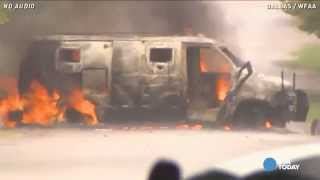 Raw: Van of Dallas police shooting suspect explodes