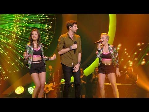 Marthe en Jindra in een zwoel trio met de Spaanse Alvaro Soler | K3 Zoekt K3 | VTM