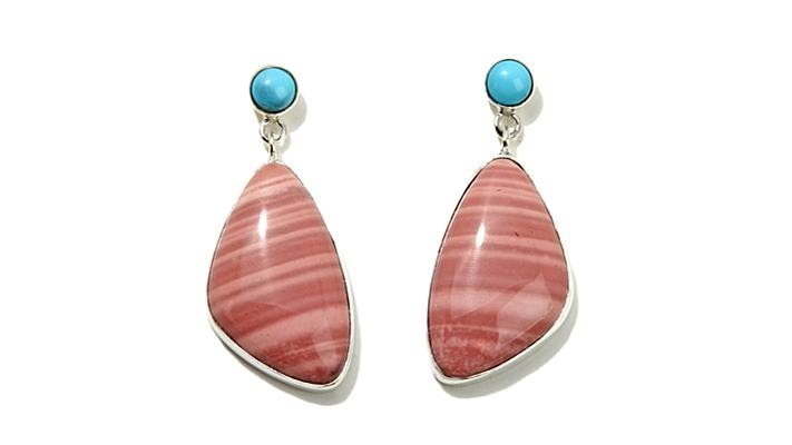 145f8c985 Jay King Freeform Pink Opal and Turquoise Drop Earrings - YouTube