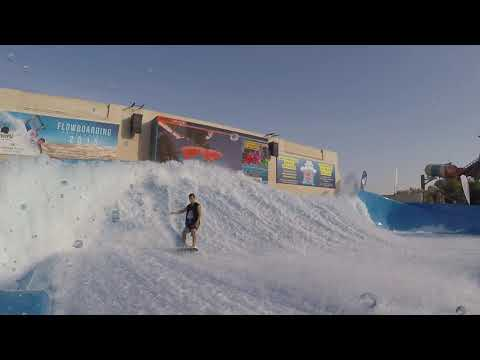 FlowRider FLow Barrel at Yas Waterworld Waterpark Abu Dhabi Dubai UAE Surf Machine Pro Tricks