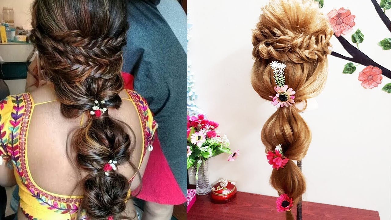 Mehndi Hairstyles For Long Hair : Mehndi hairstyle with french braids for function youtube