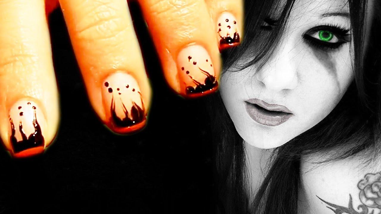Emo/Gothic Nail Art - YouTube