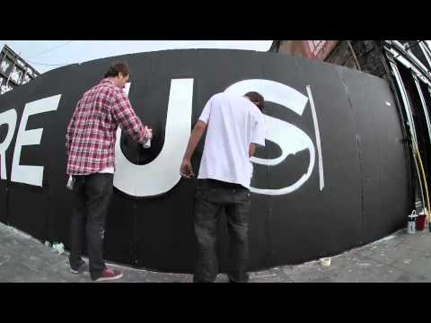 Damien Dempsey and Maser - They are Us - painting the promo wall