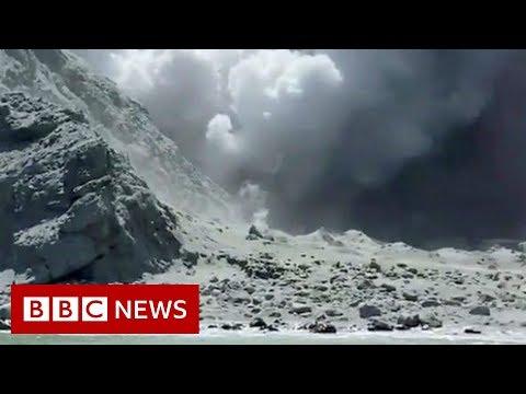 The moment after eruption hit New Zealand tourist site - BBC News