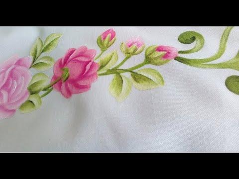 Como Pintar Un Mantel Con Botones De Rosas