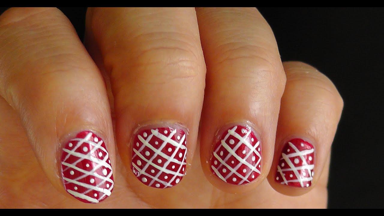 Diseño de uñas #6 ╫ NAVIDAD ≡ Blanco y Rojo (White and Red nail ...