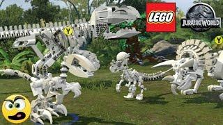LEGO Jurassic World - Mostrando todos os Dinossauros esqueléticos