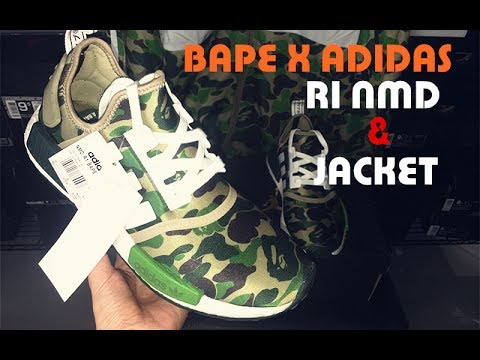 new product 3793b 5be13 (LN5)Bape X Adidas R1 NMD Green Camo   Jacket Review