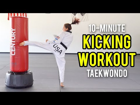 10-MIN TAEKWONDO KICKING WORKOUT (Follow Along)   Martial Arts