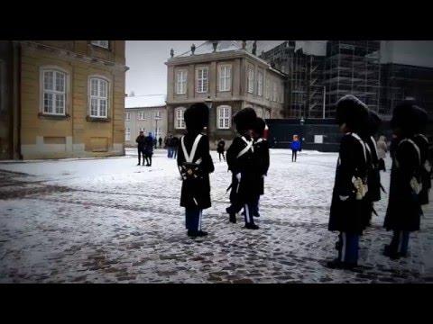 Amalienborg Palace, Copenhagen - Change of guards in winter time