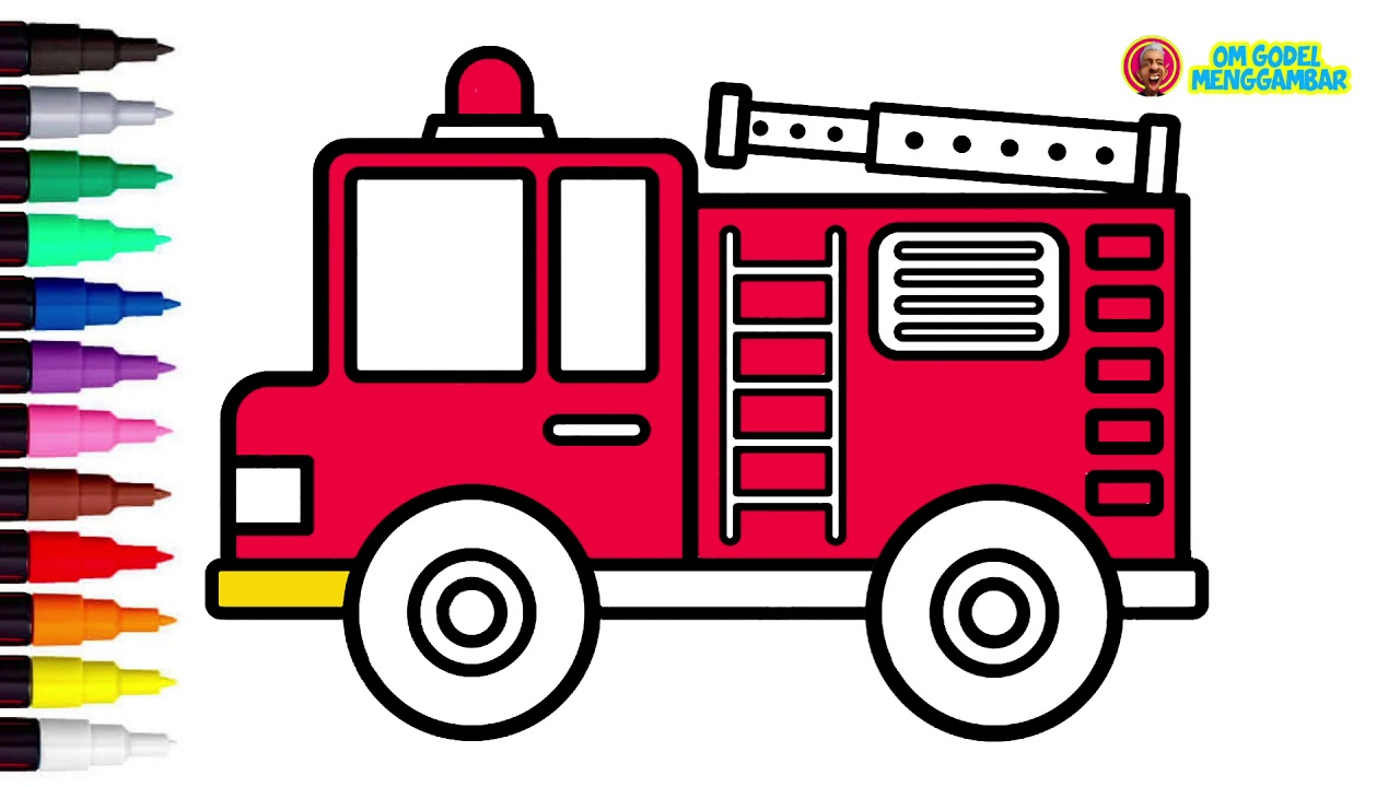 Cara Menggambar Mobil Pemadam Kebakaran How To Draw A Fire Truck Youtube