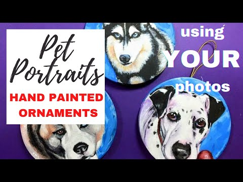 How Paint Commissioned Acrylic Paint Pet Portrait Christmas Ornaments By Barbara Beckman