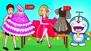 Paper Dolls Dress Up - Rainbow Fat Doraemon & Rapunzel Rich and Poor Dress - Barbie Story & Crafts