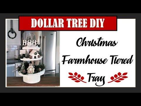 DOLLAR TREE DIY-Christmas Farmhouse Tiered Tray