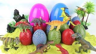 Giant DINOSAUR EGGS Surprise Toy for Kids. Learn Dinosaurs Jurassic World Toys, 3D Puzzle Eggs Video