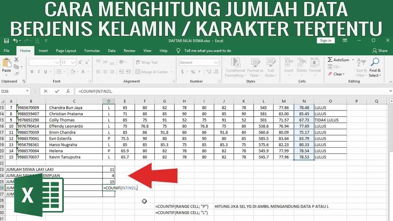 Cara Menghitung Jumlah Laki Laki dan Perempuan pada Tabel ...