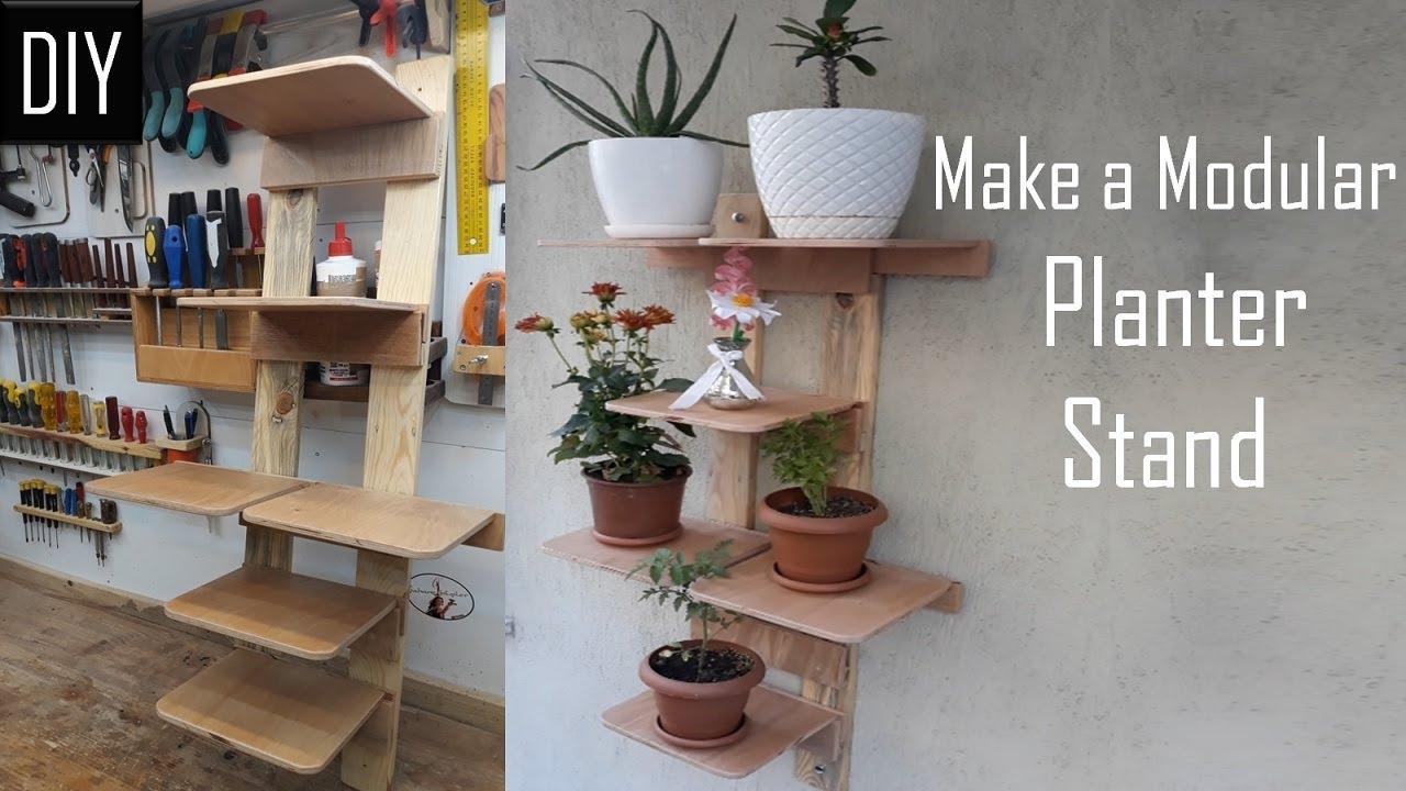 Atık malzemelerden seyyar raflı çiçeklik yapımı / Çiçek saksıları için duvar tipi moduler raf