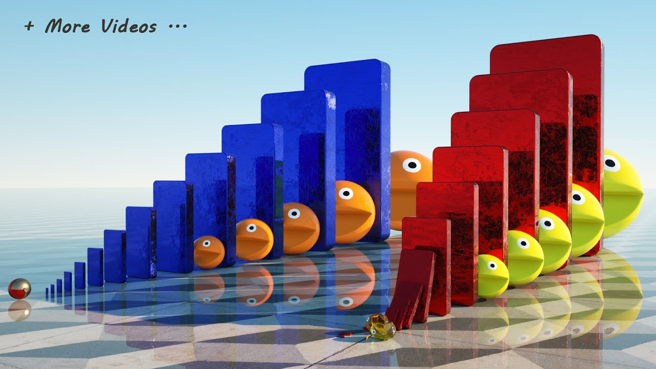Smash Multiple Pacmans 😀 Two Jelly vs One Robot Pacman Race - Domino Effect Simulation + MORE VIDEOS