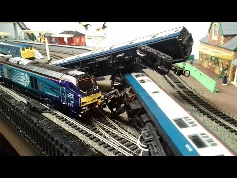 Runaway Train Crash. Station Bridge Views HO / OO Gauge Model Railway Accident / Disasters PT55