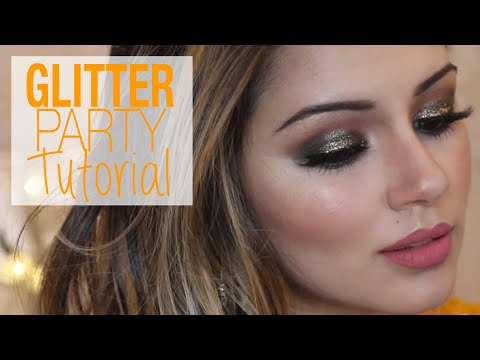 Glittery Bronzed Party Makeup & Hair Tutorial
