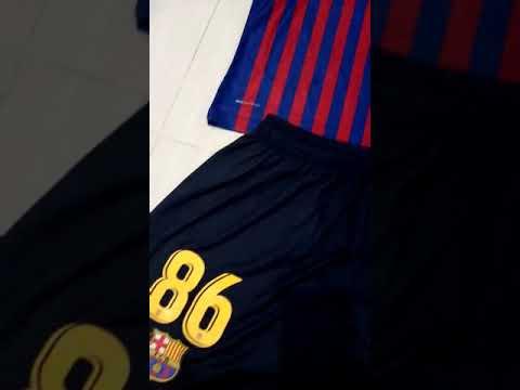 Kids 2018-19 Barcelona Home Soccer Kit football shirt with shorts on Goaljerseyshop