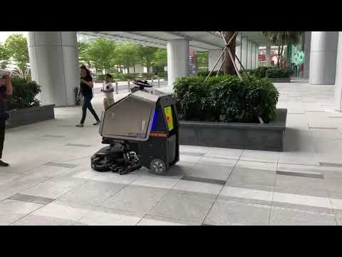 Driverless cleaning vehicle is working at Sentosa restore Singapore