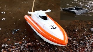 SpeedDevil AquaRacer (Heyan 800) and DIY boat on the river (Lost propeller!)