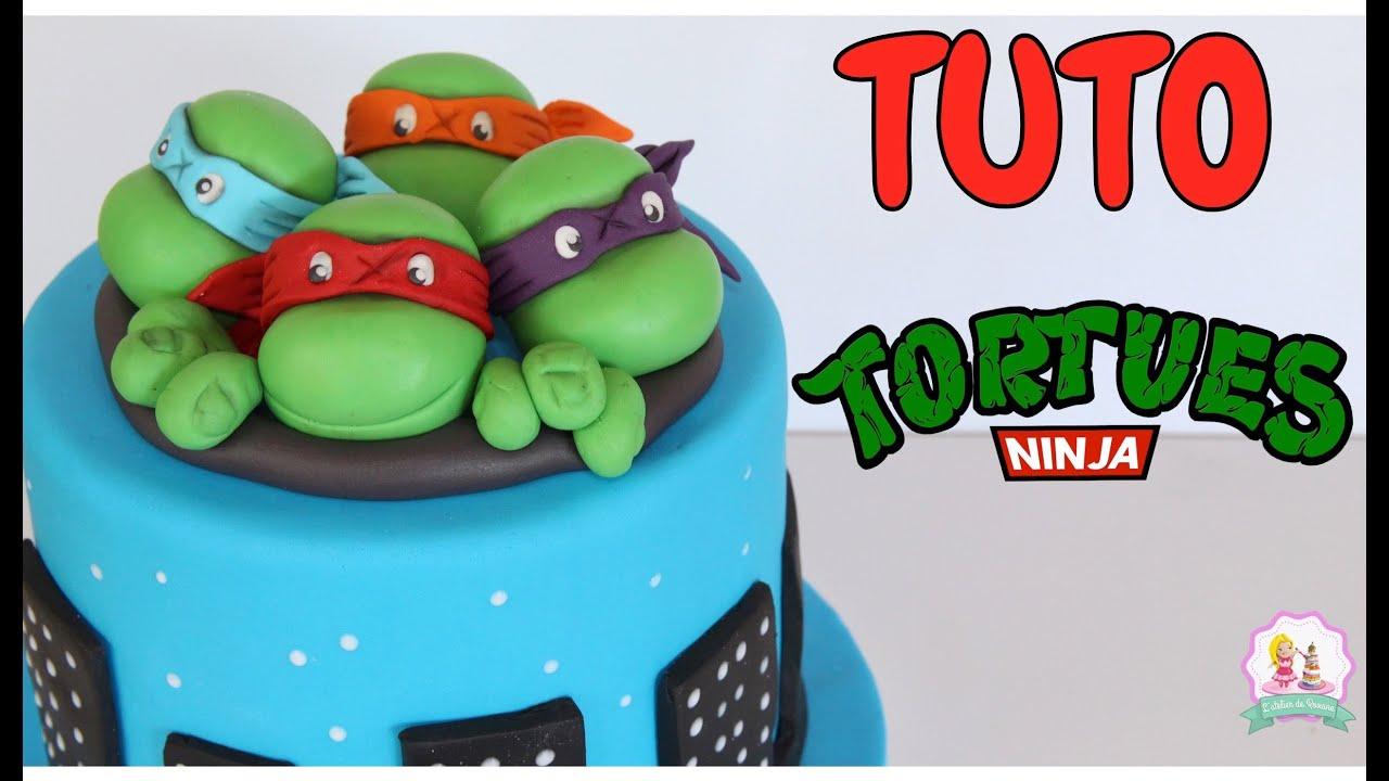 GATEAU PATE A SUCRE TORTUE NINJA CAKE DESIGN •♡