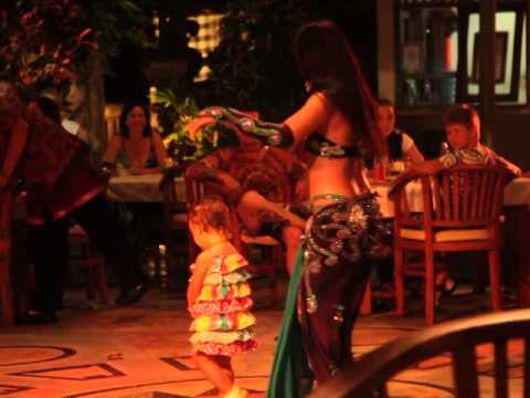 Amazing Belly Dancer and Funny Baby in Bali, Indonesia