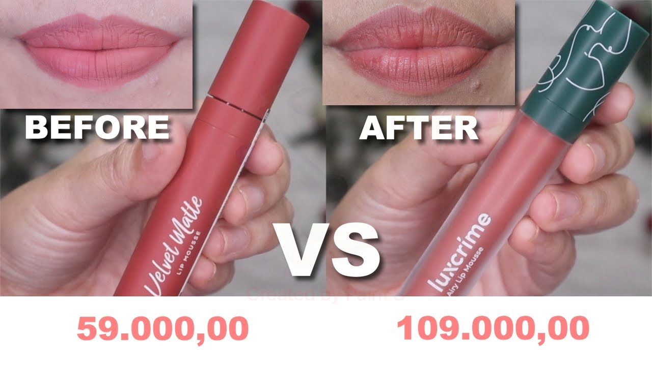 BATTLE WARDAH VELVET LIP MOUSSE VS LUXCRIME AIRY LIP