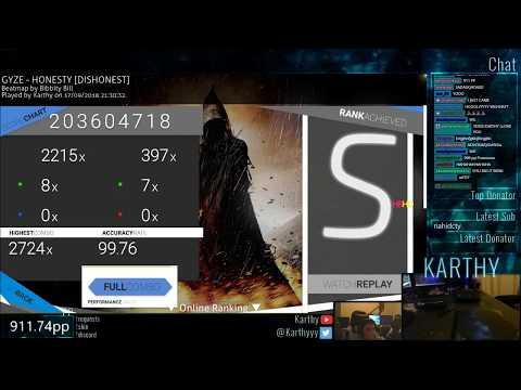 Karthy丨New std Record丨941pp 99.76%FC#1丨GYZE - HONESTY [DISHONEST] +HDHR
