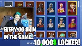 Ninja Shows His Very *EXPENSIVE & RARE* LOCKER! Every Skin In The Game.. (Fortnite Moments)