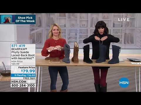 BEARPAW Phylly Suede LacedBack Boot With NeverWet