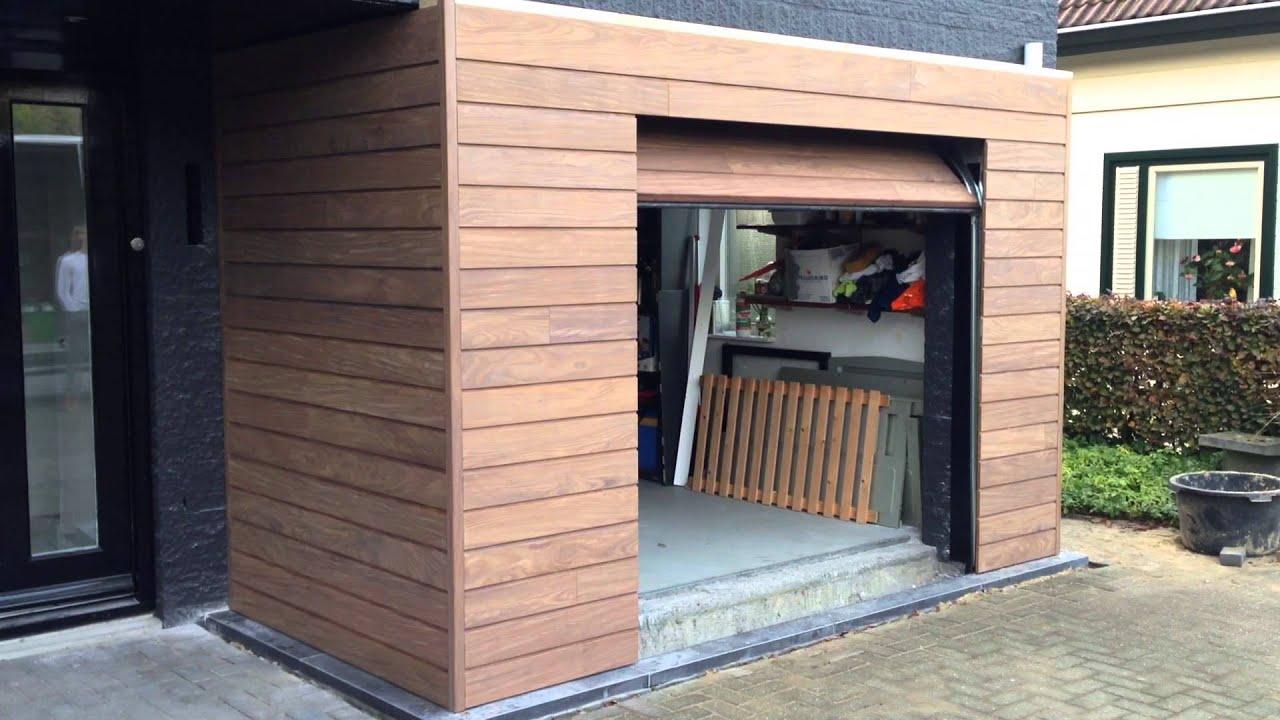 Uitzonderlijk Elektrisch houten garagedeur met gevelbekleding - YouTube @MB66