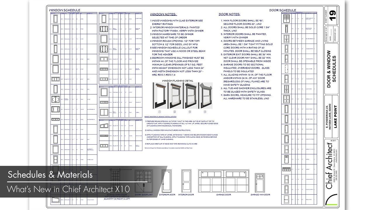 chief architect x10 new features schedules and materials lists