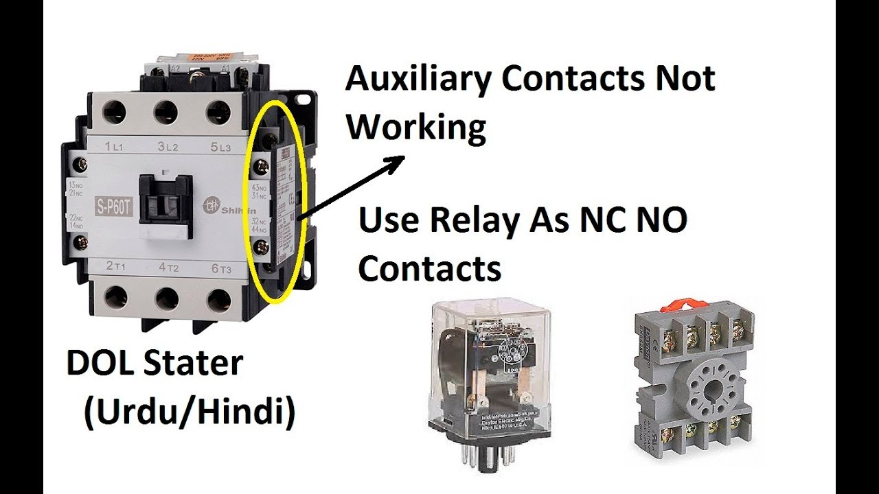How To Use Relay As Auxiliary Contacts With Magnetic Contactor Urdu Electrical Hindi Tutorials