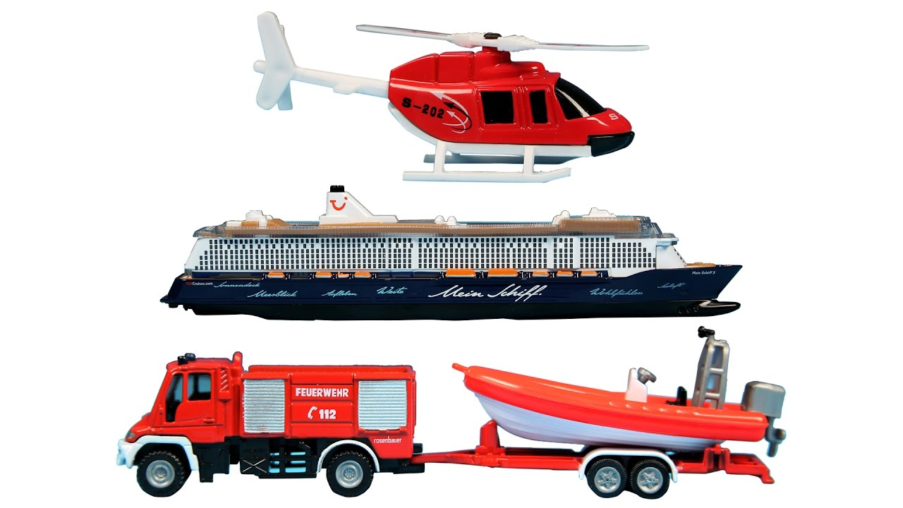 Learn Vehicles For Kids With Helicopter Cruise Ship Rescue Van - Disney cruise ship toy