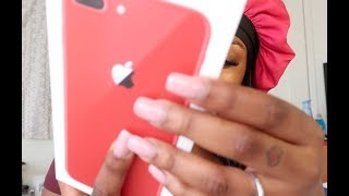 RED IPHONE 8 PLUS UNBOXING (ghetto version)
